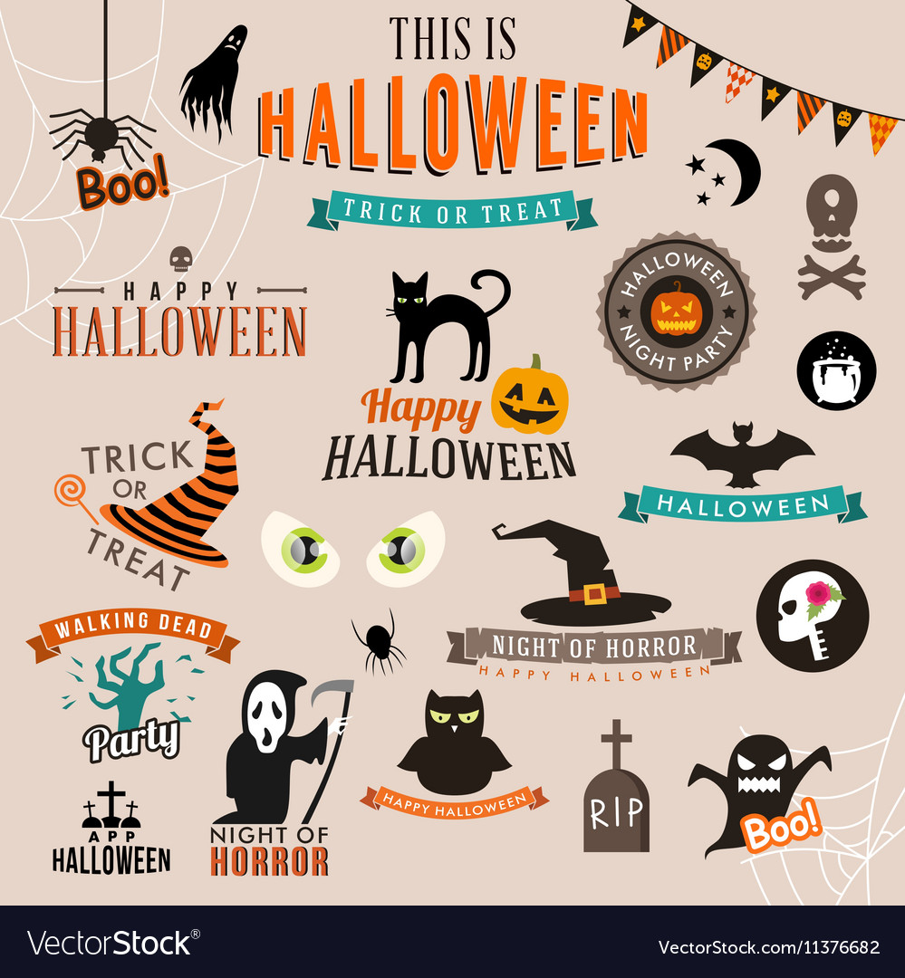 Set of Happy Halloween symbols and decoration vector image