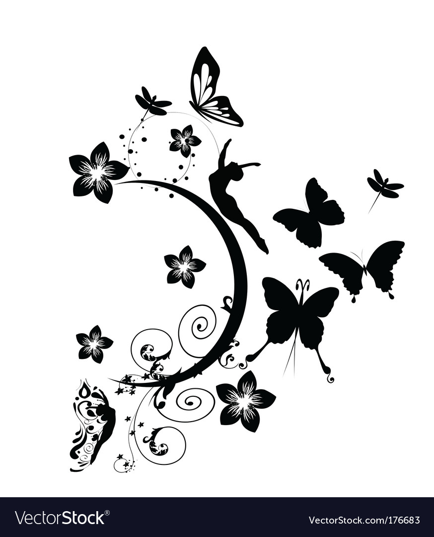 Floral wall design vector image