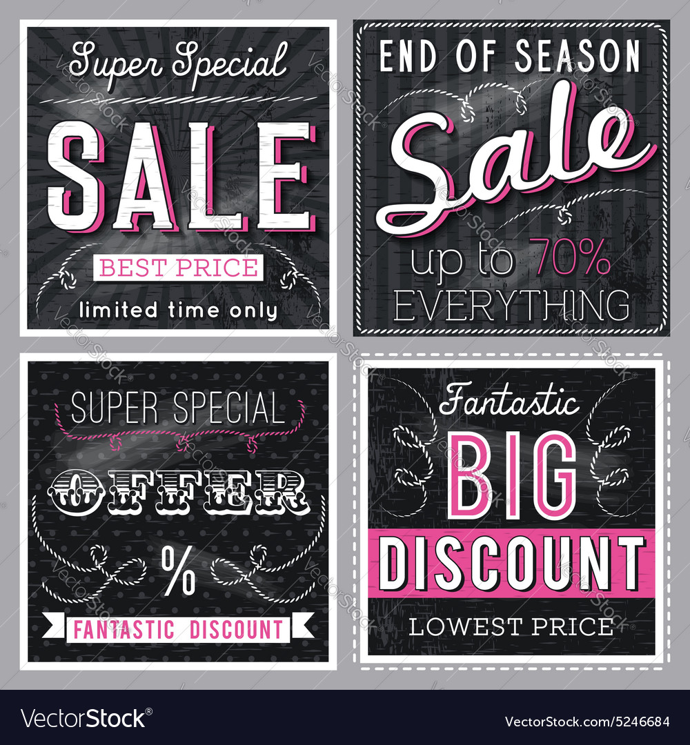 Black banners with sale offer vector image