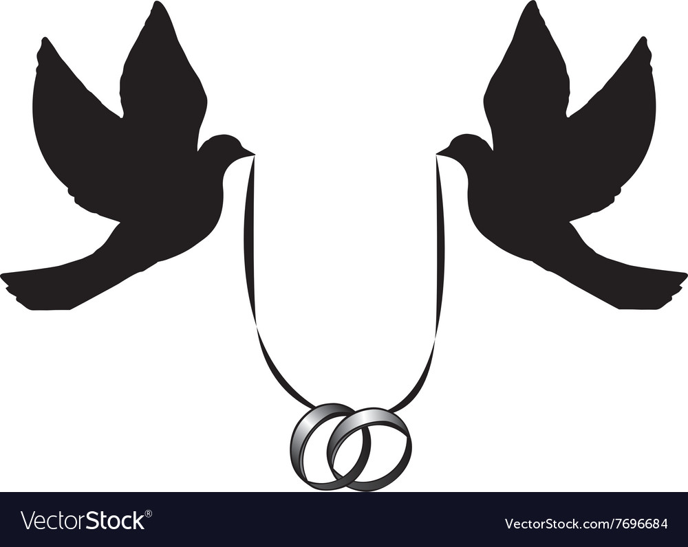 Wedding rings vector  Doves with wedding rings Royalty Free Vector Image