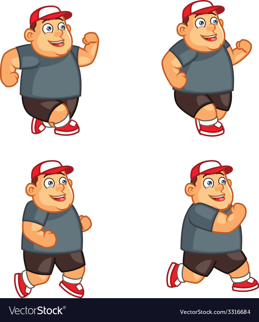 Fat Boy Running Sprite vector image