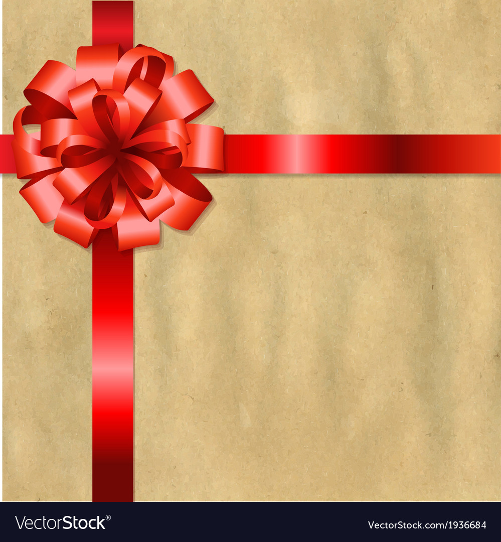 Retro Old Paper With Red Bow vector image