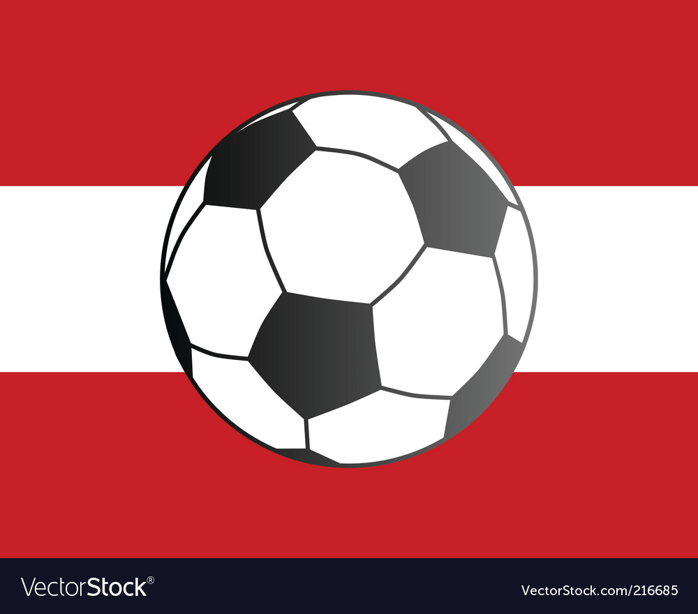 Flag of Austria and soccer ball vector image