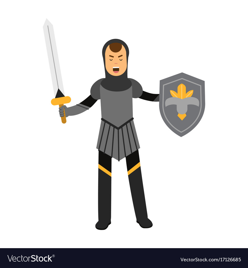 Medieval amed knight character standing with vector image