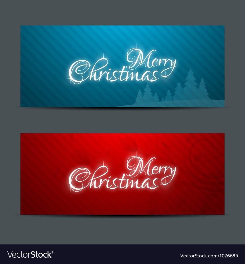 Merry Christmas Banners Set Design vector image