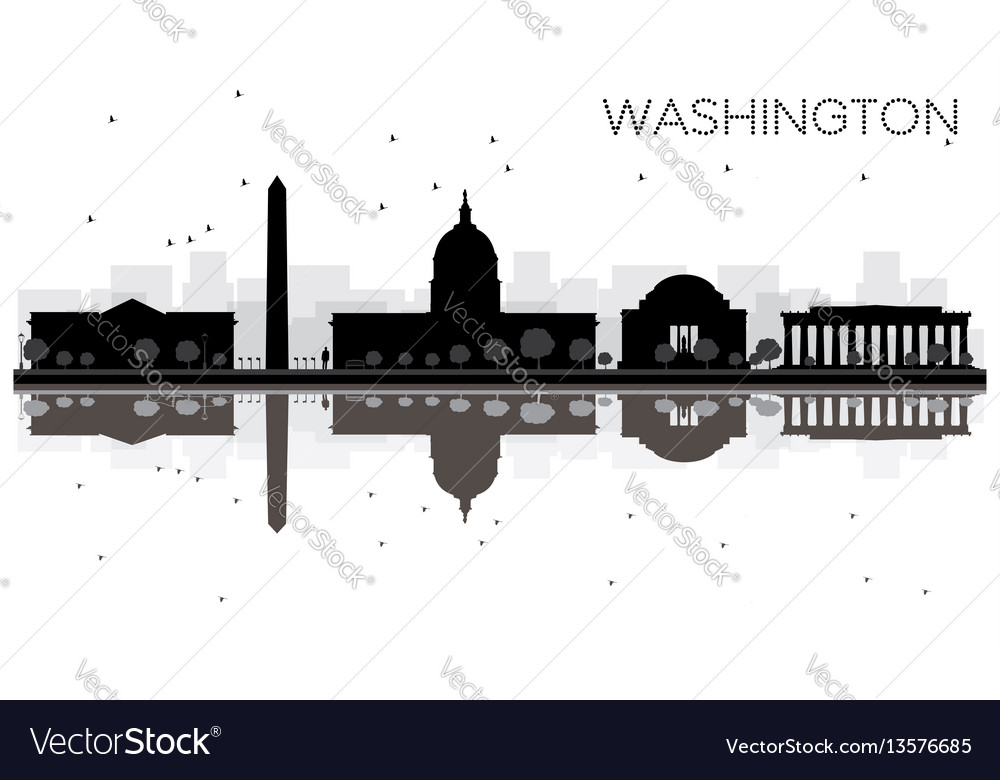 Washington dc city skyline black and white vector image