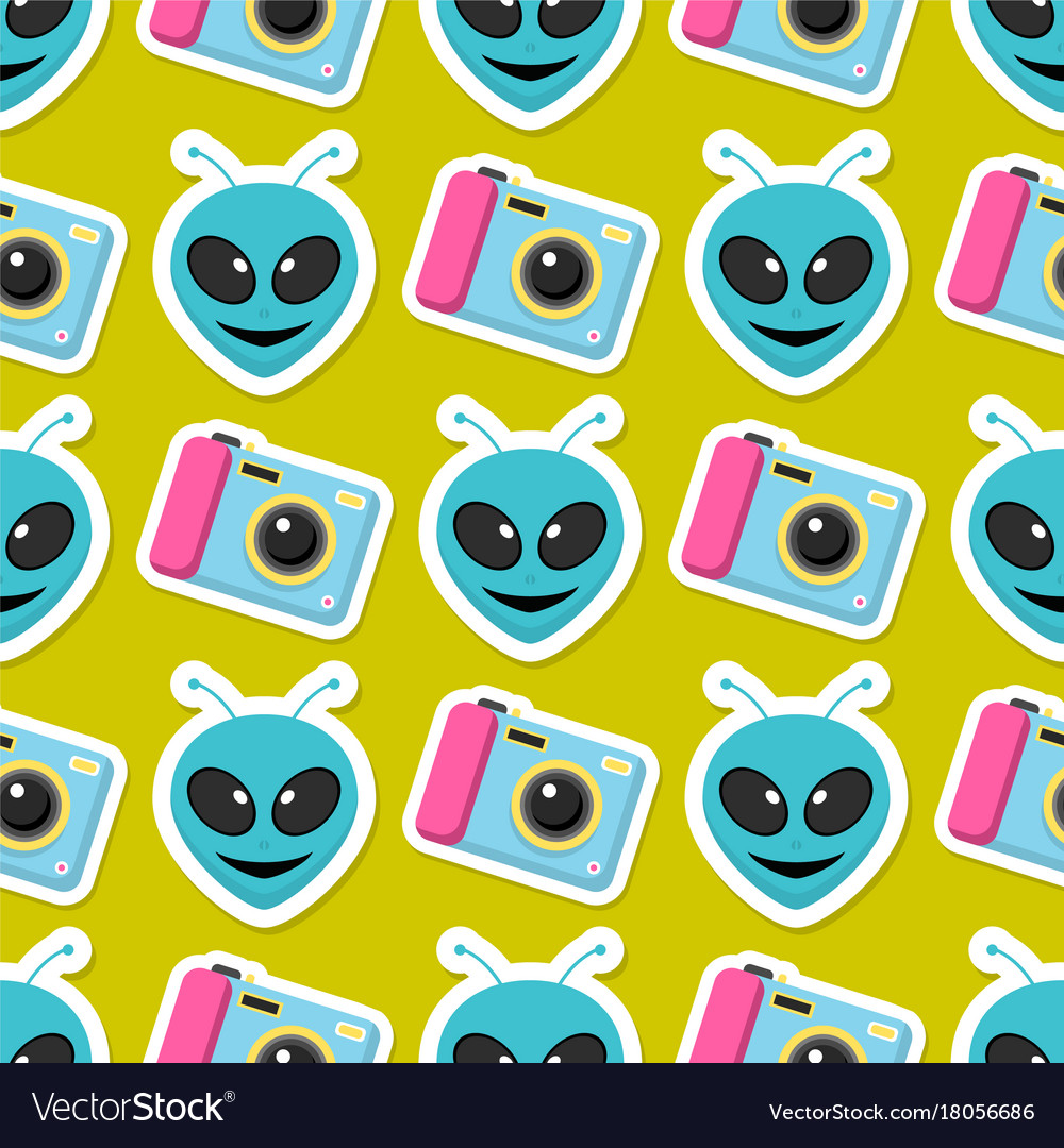 Cute hipster stickers scrapbook drawing vector image