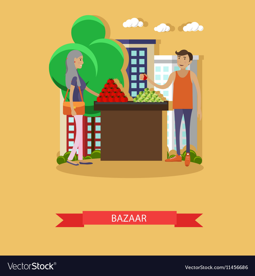 Street food market banner in flat style vector image