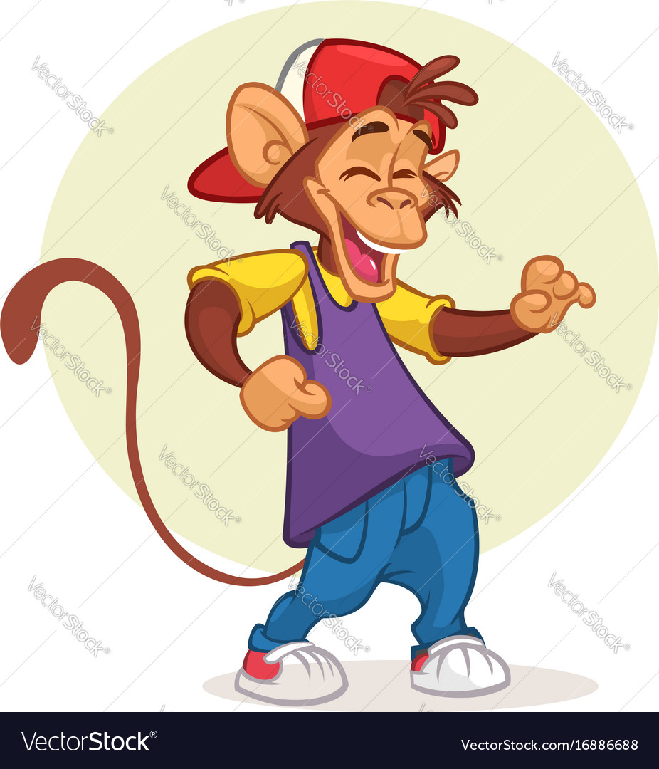 Cool pretty monkey dancing vector image