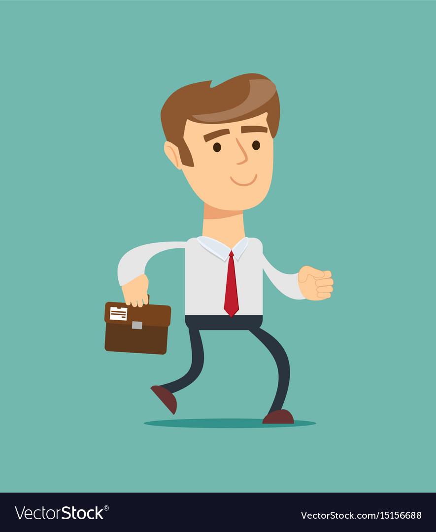 Simple cartoon of a businessman running vector image