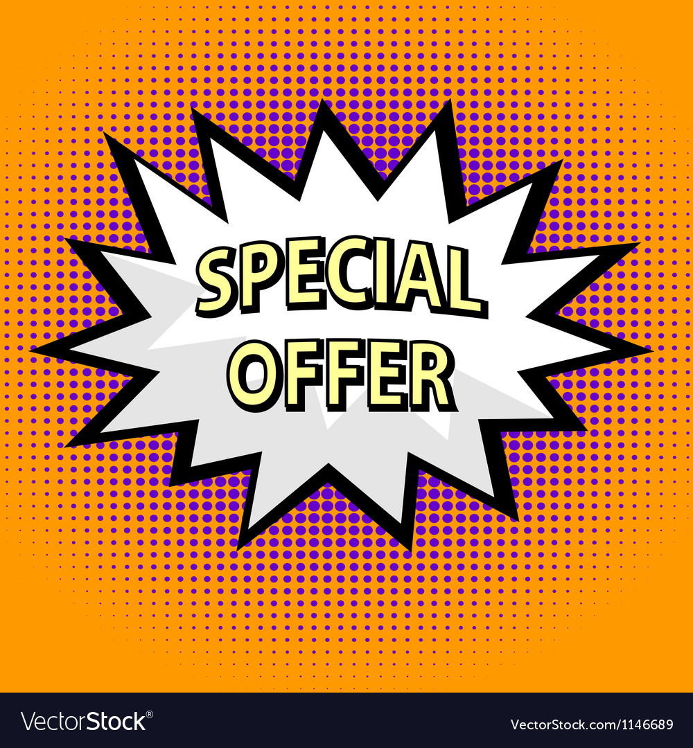 Special offer label in pop art style vector image