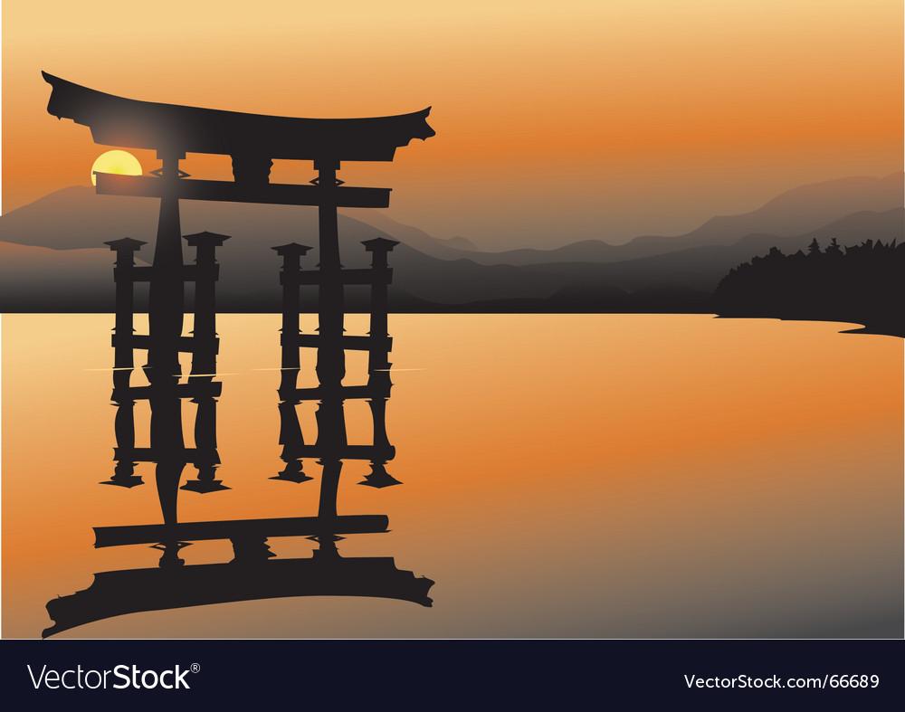 Asian lake Vector Image