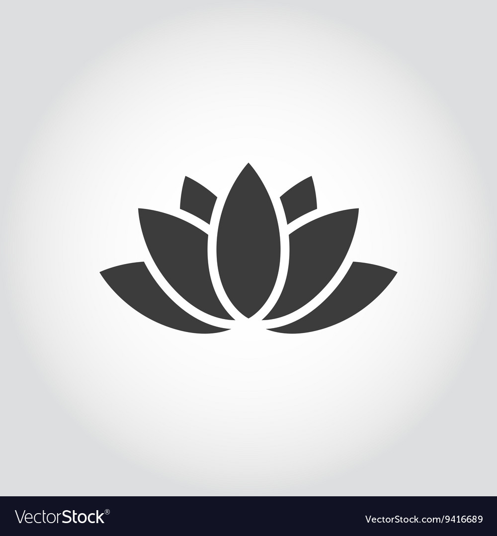 Black lotus icon on grey background vector image