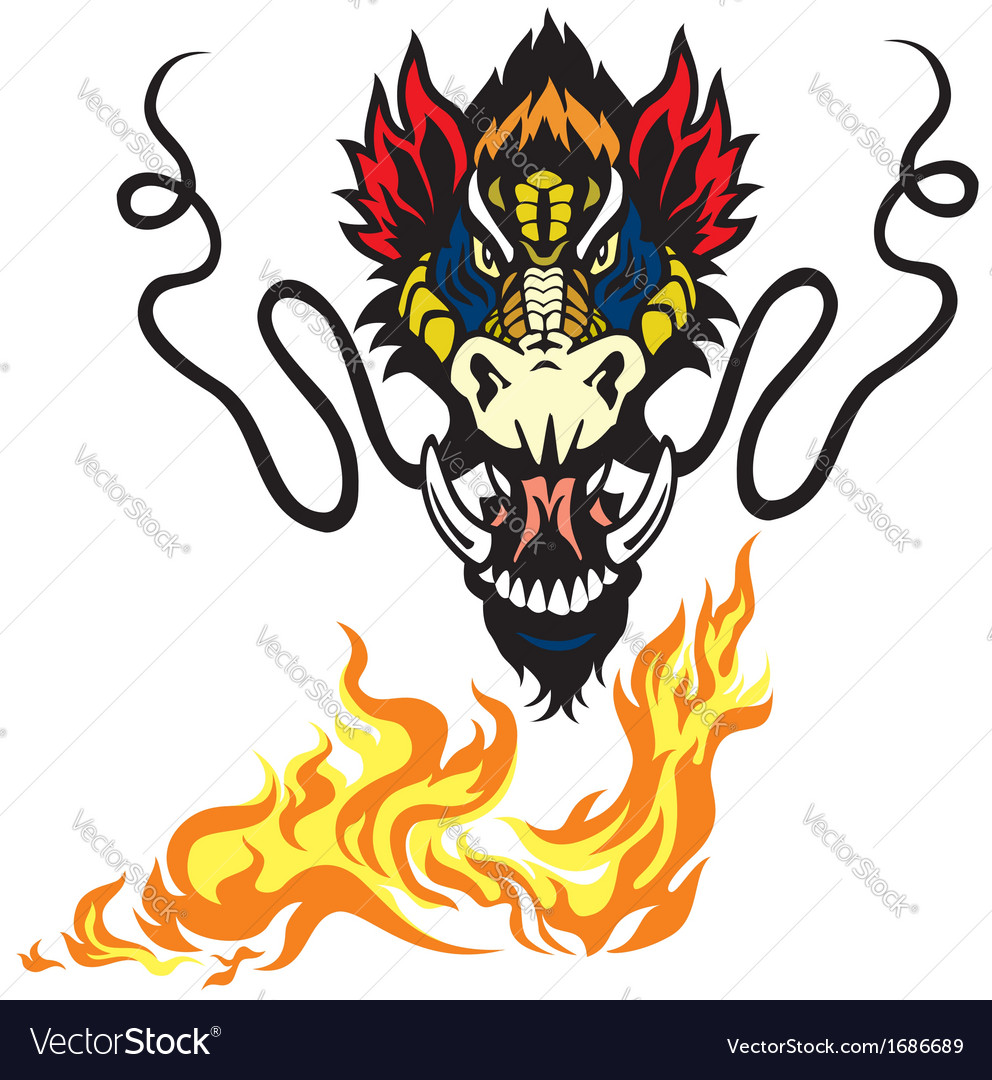 dragon head black and white royalty free vector image