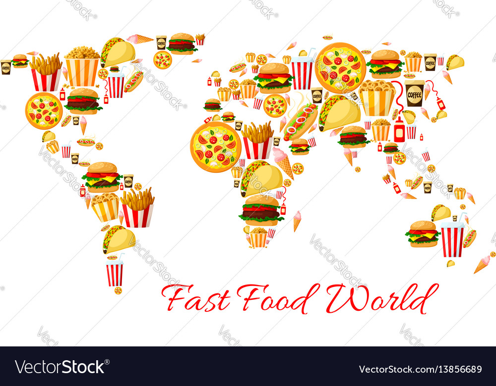 Fast food world map cartoon poster design vector image gumiabroncs Choice Image