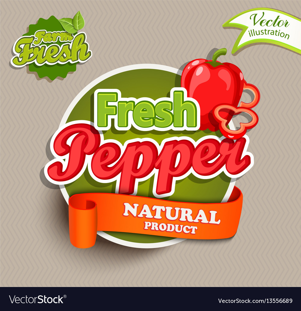 Organic food label - fresh pepper logo vector image