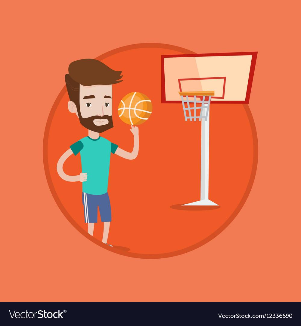 Hipster basketball player spinning ball vector image