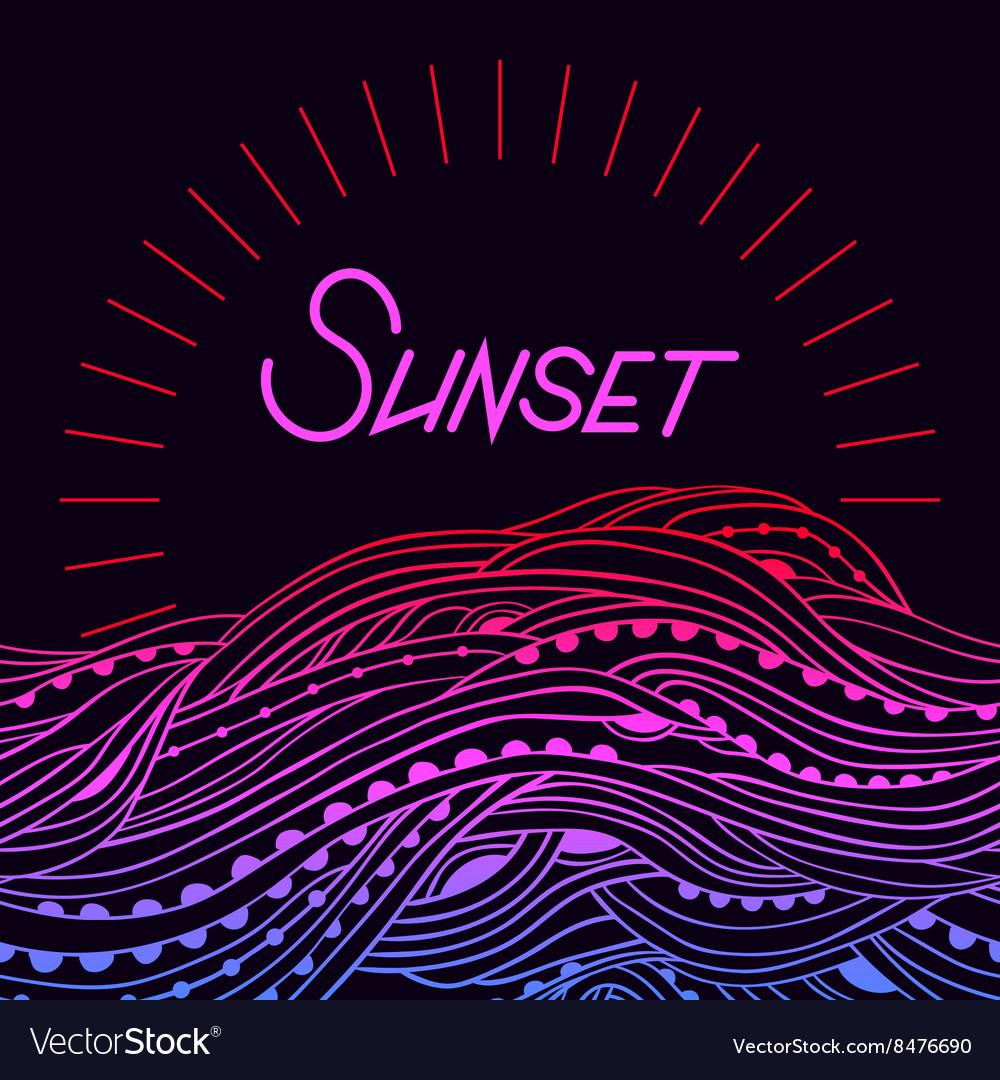 Sea Border Sunset vector image