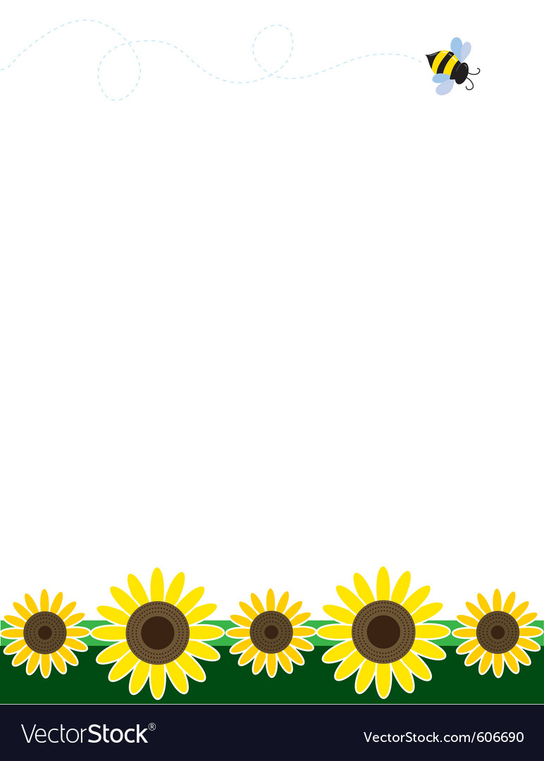 Sunflower border Royalty Free Vector Image - VectorStock