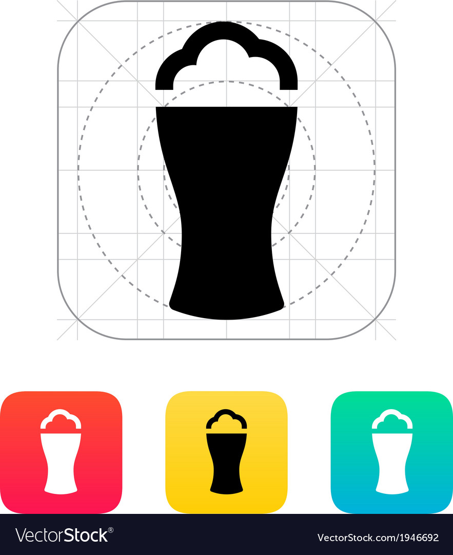 Beer glass with foam icon vector image