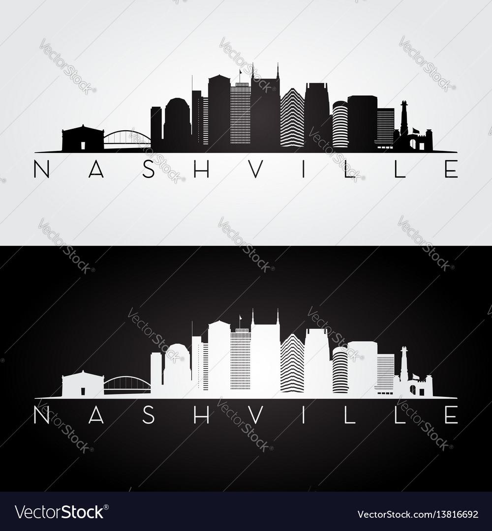 Nashville usa skyline and landmarks silhouette vector image