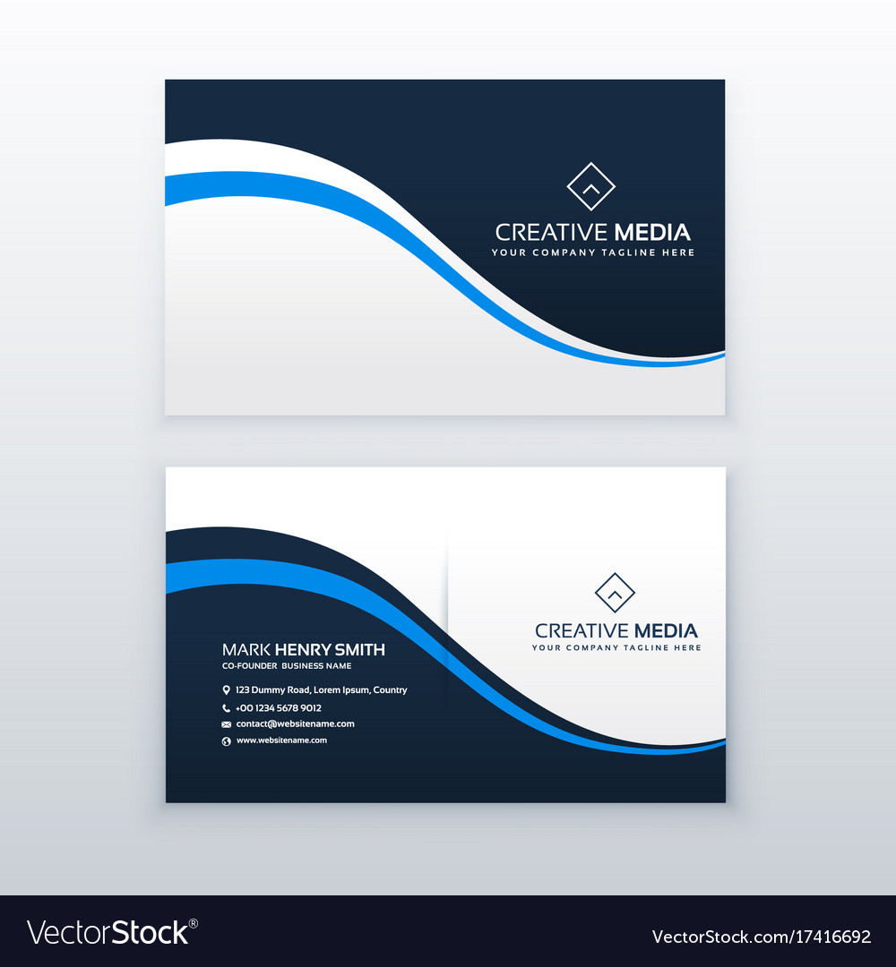 Professional business card design with blue wave vector image colourmoves Image collections