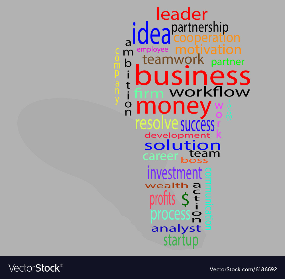 Wordcloud business lightbulb colorful vector image