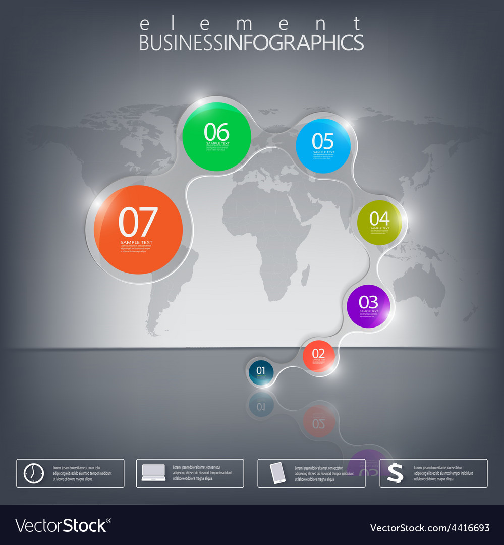 3D element Infographics on black background vector image