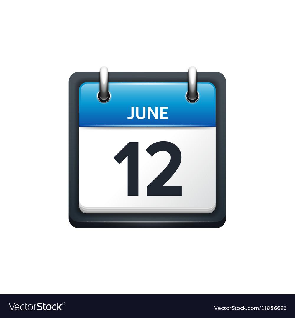 June 12 Calendar icon flat vector image