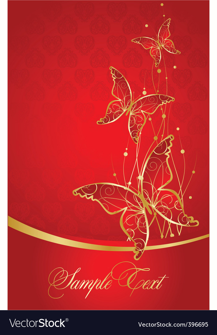 Elegant red background with butterfly vector image