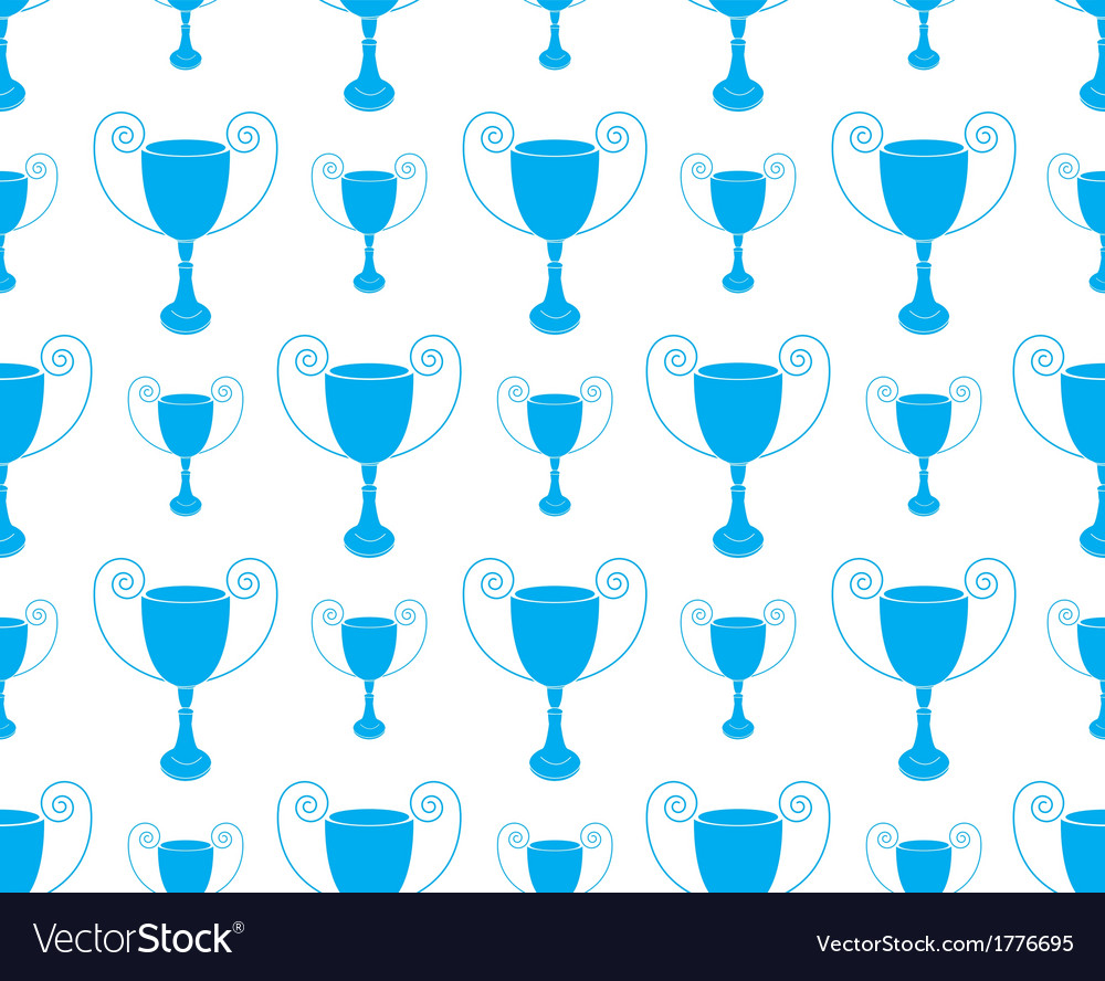 Blue Seamless pattern with trophy vector image
