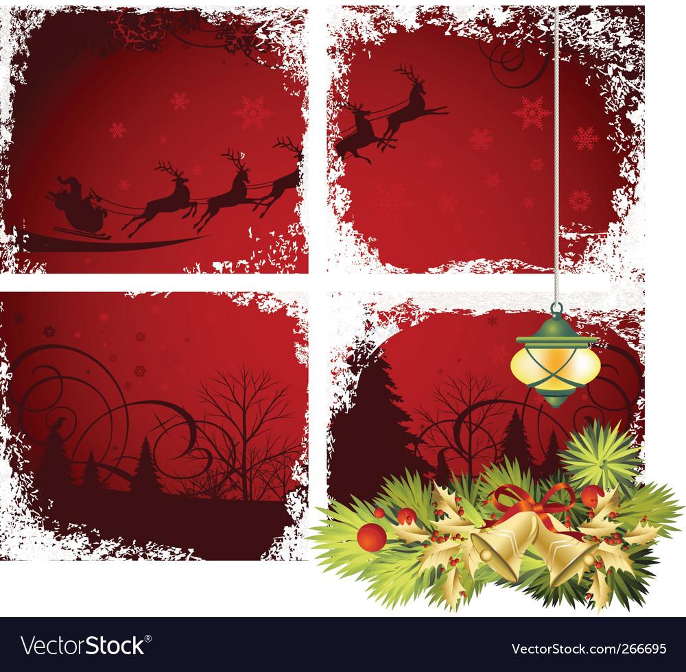Christmas window vector image