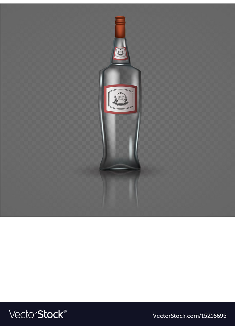 Glass vodka bottle with screw cap vector image