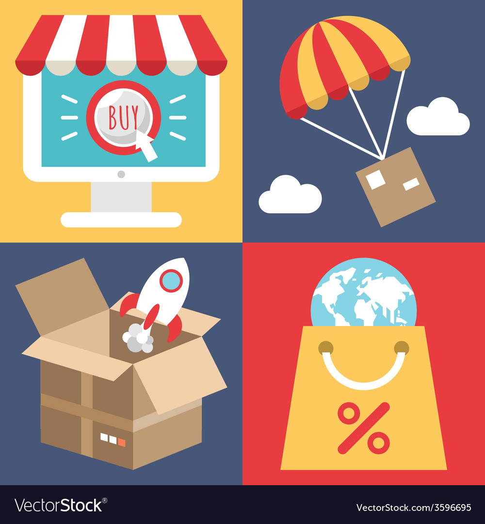 Internet shopping concept in flat style - search vector image