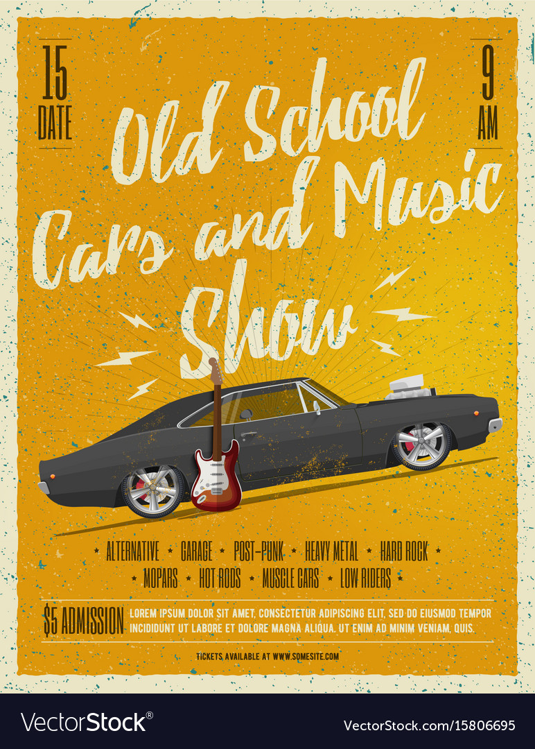 Old school cars and music show poster Royalty Free Vector