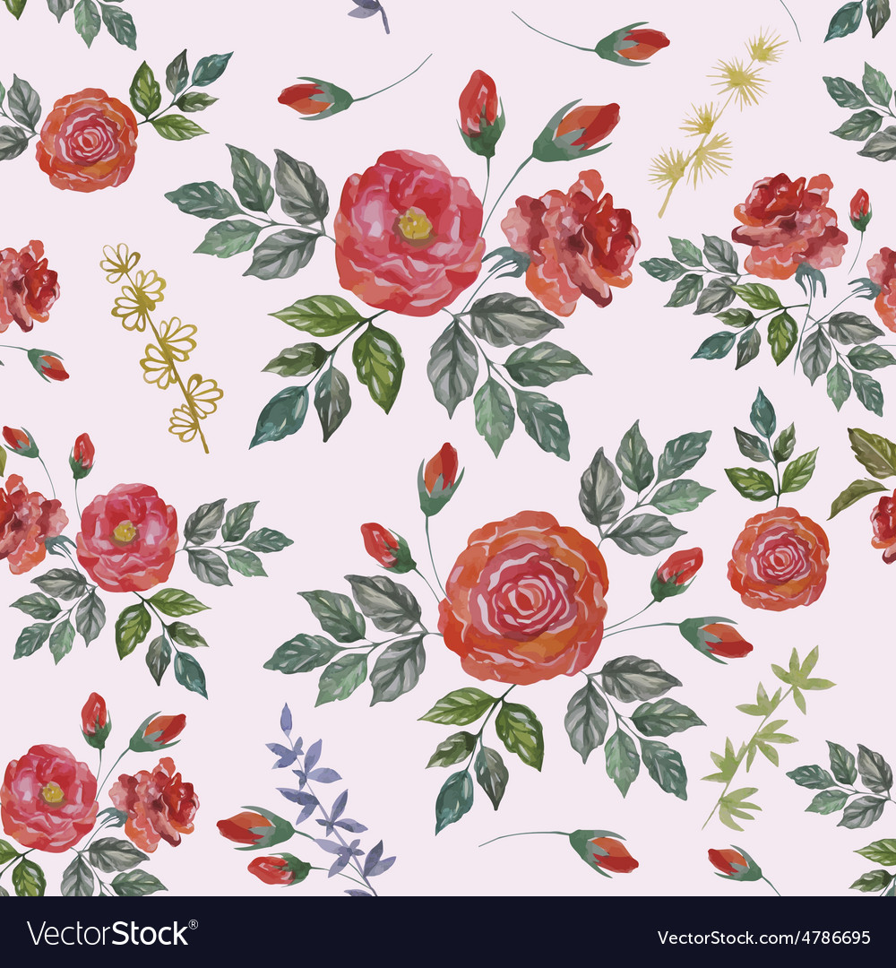 Seamless Watercolor Pattern with Red Roses vector image