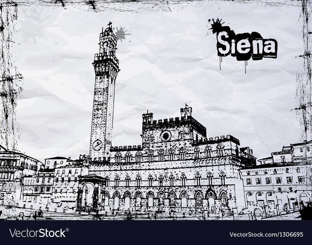 Siena City Hall on Piazza del Campo vector image