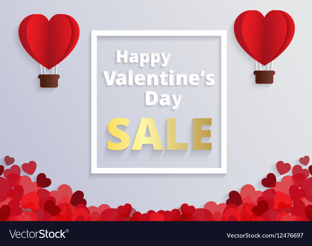 Love and valentine dayOrigami made hot air balloon vector image