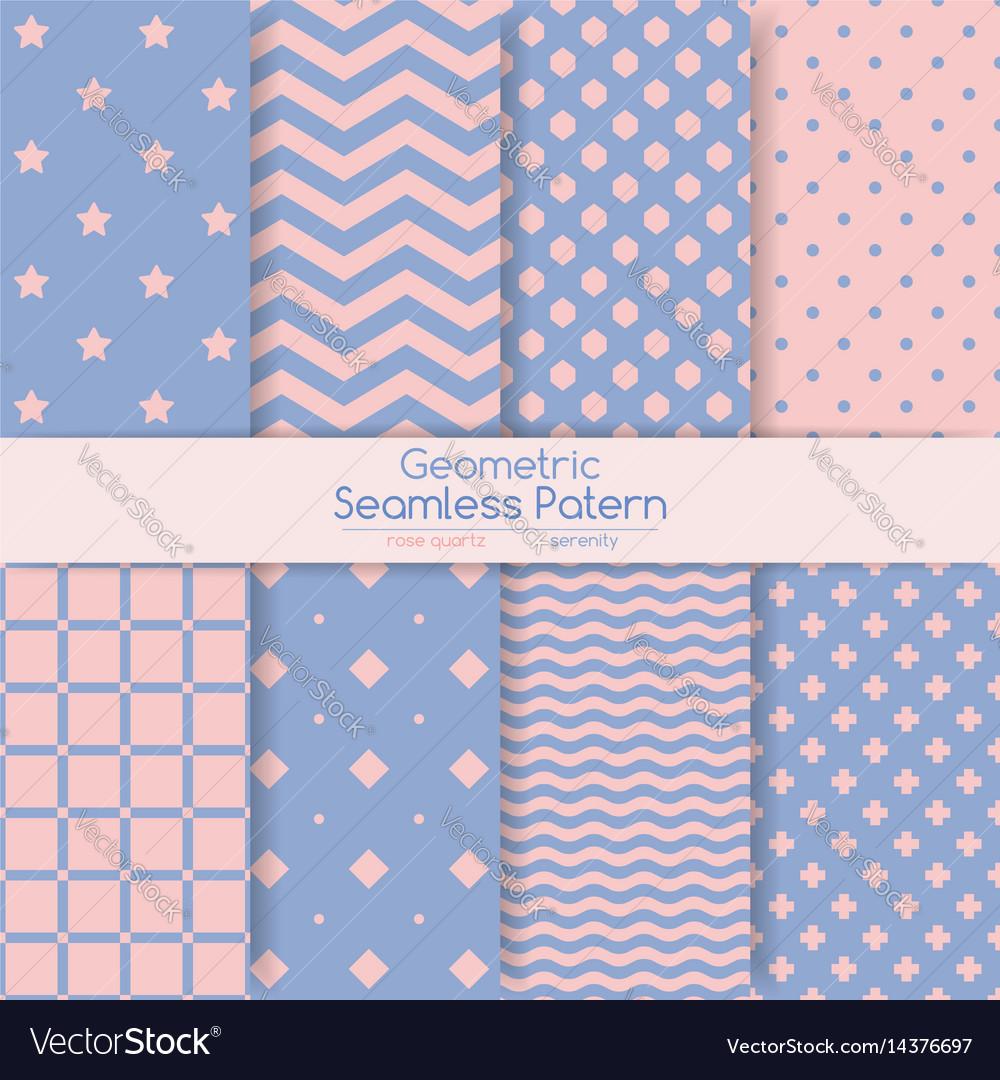 Set of 8 seamless geometric patterns vector image