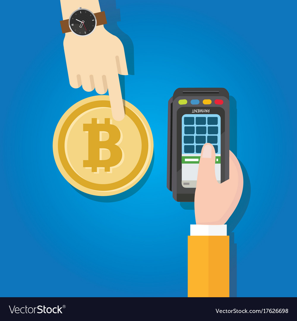 Bitcoin transaction payment method hand holding vector image
