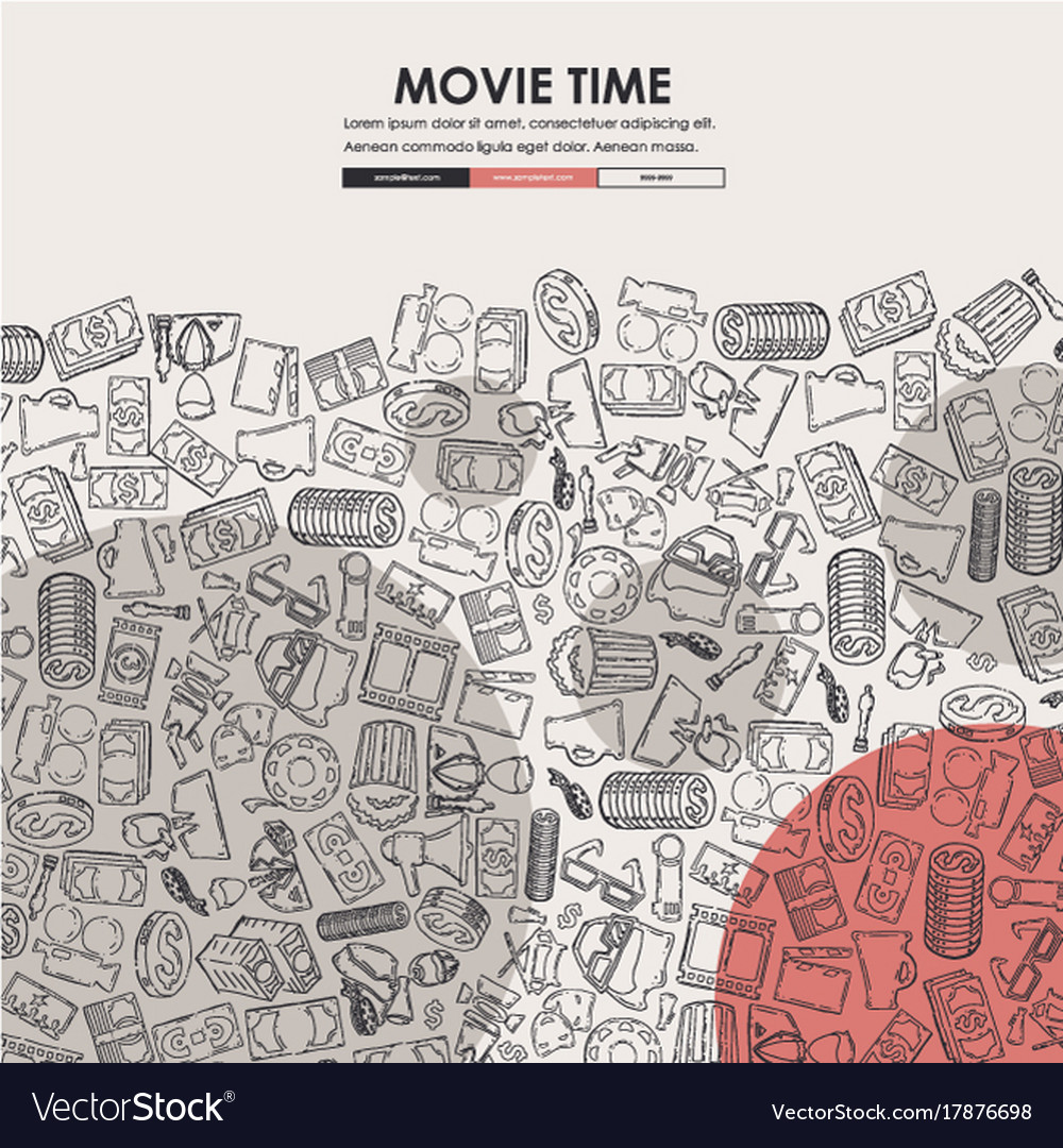 Cinema doodle website template design royalty free vector for Doodle for google template