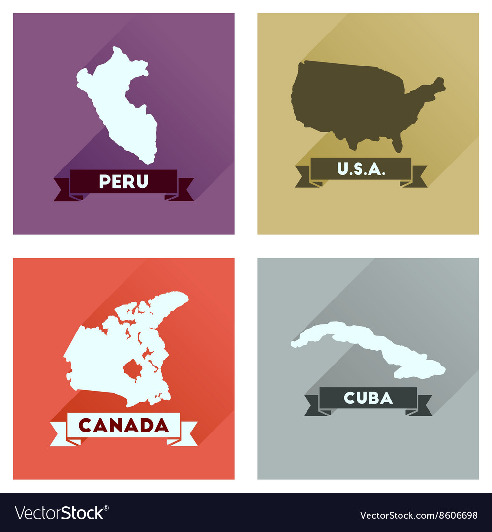 Concept flat icons with long shadow maps countries