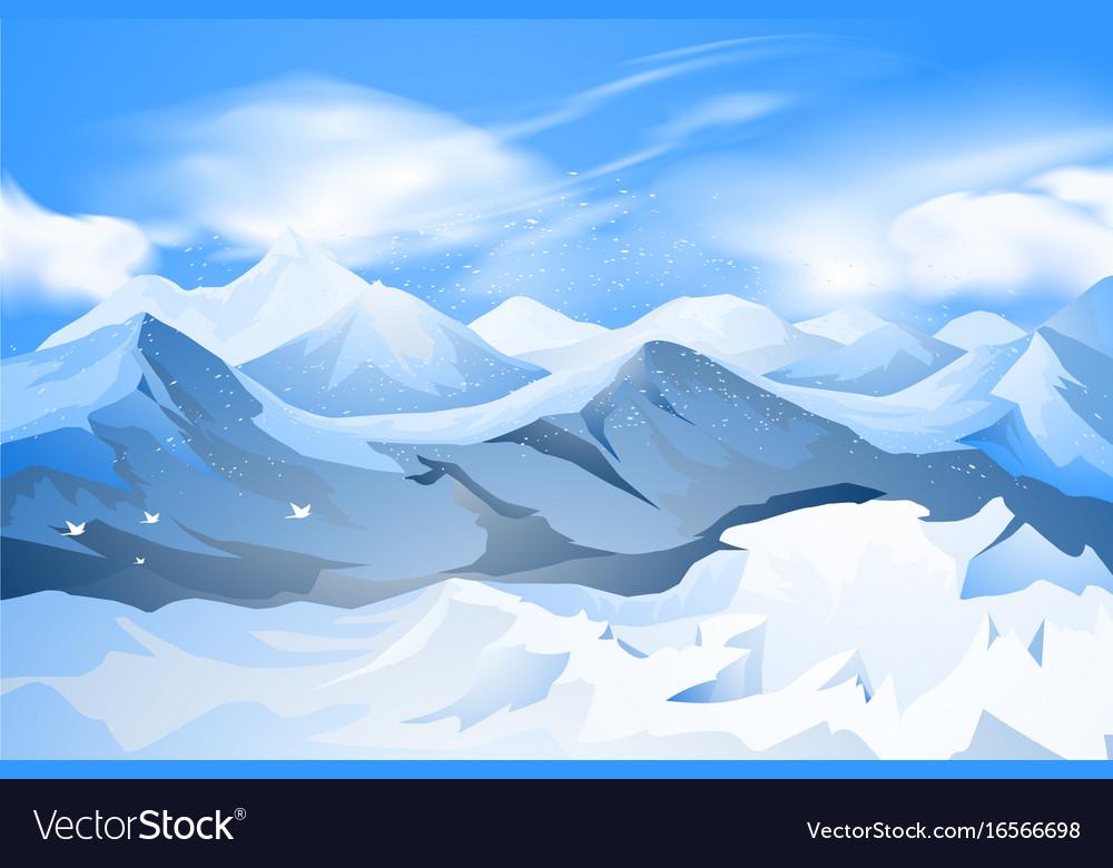 Mountains peak with snow scene
