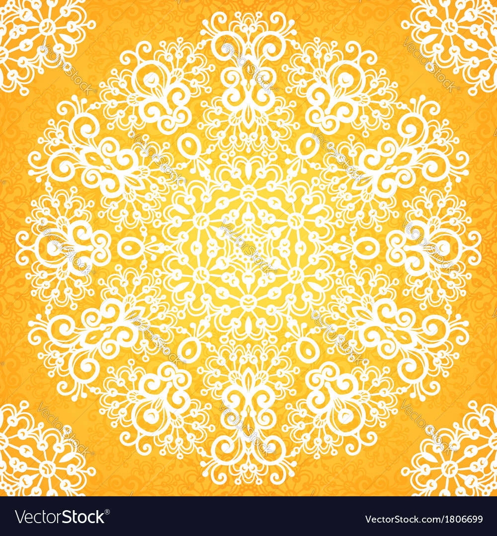 Ornate vintage yellow lacy seamless pattern vector image