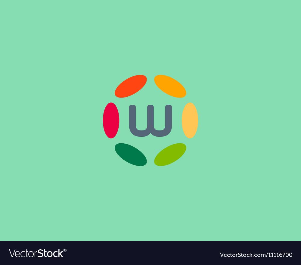 Color letter W logo icon design Hub frame vector image