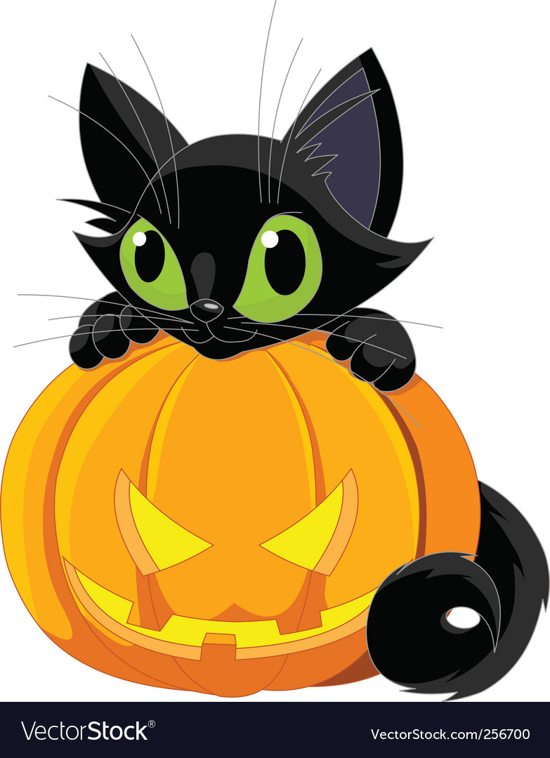 Halloween black cat Royalty Free Vector Image - VectorStock