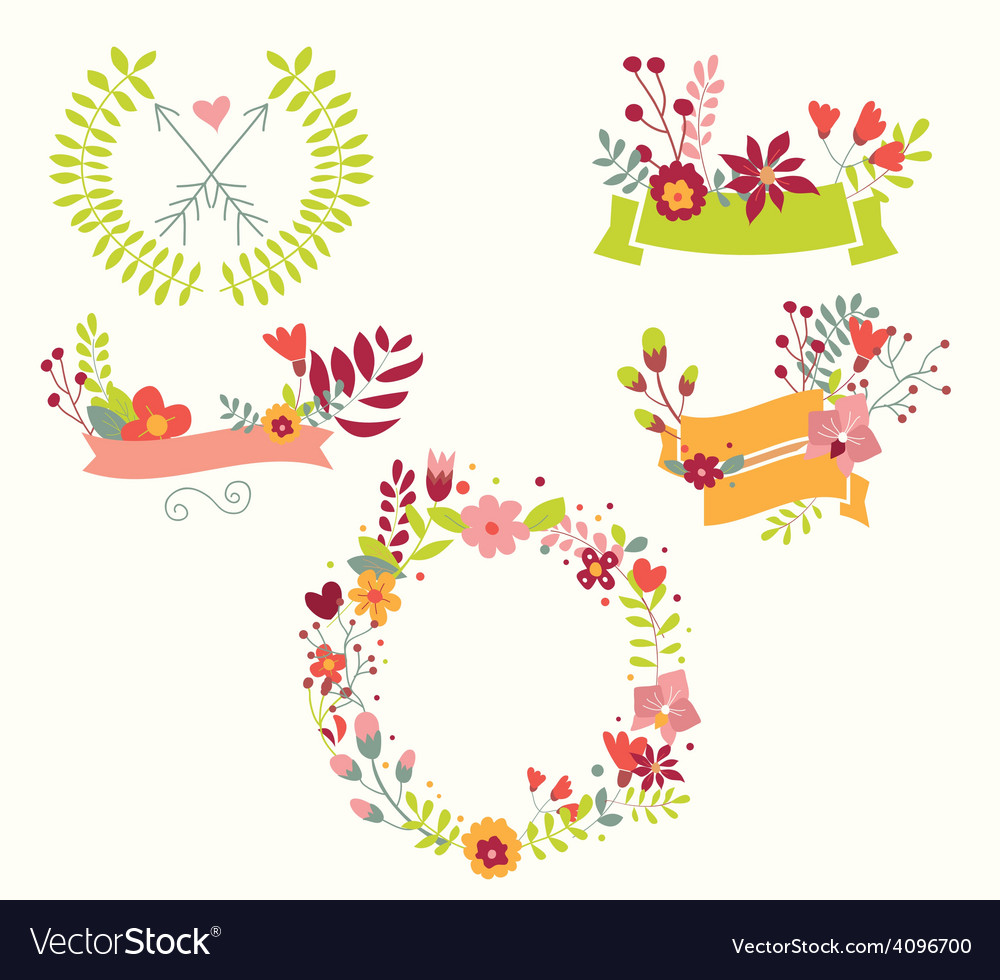 Hand drawn vintage flowers and floral elements vector image