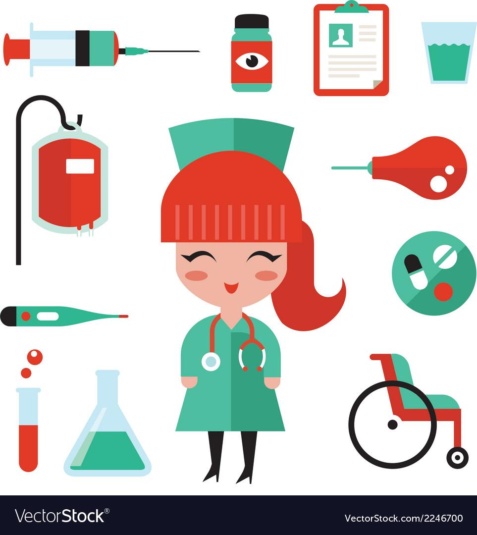 Nurse icons vector image