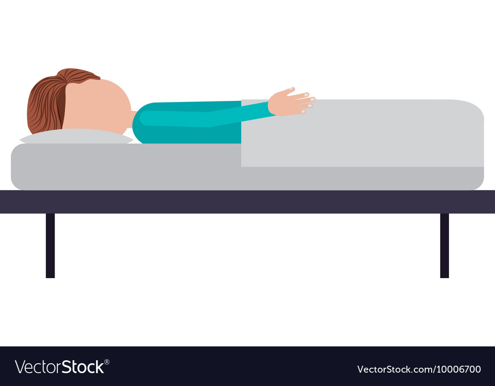 Person lying in bed isolated icon design vector image