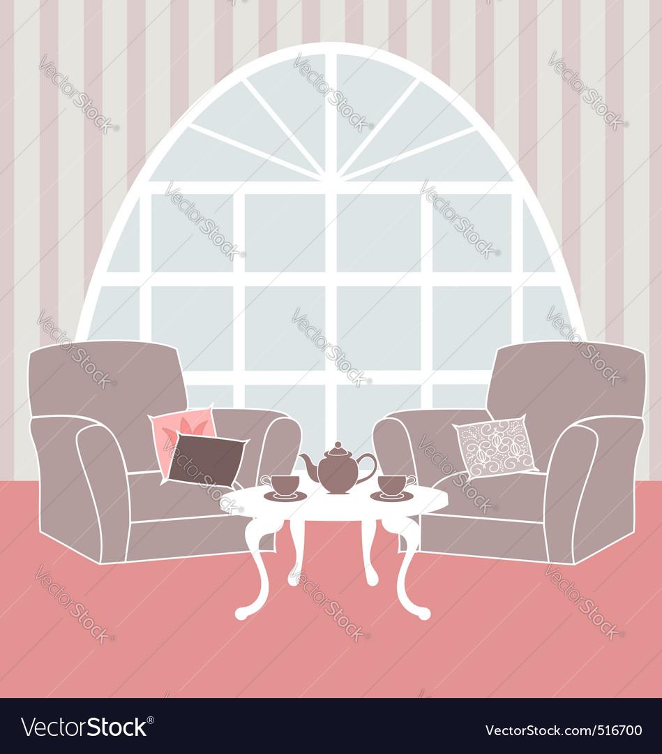 Retro living room vector image